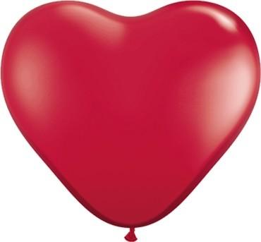 "Qualatex Herz Jewel Ruby Red (Rot) 15cm 6"" Latex Luftballons"
