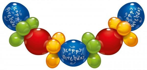 Happy Birthday Girlande 32 teilig Latex Luftballon ca. 2,1m