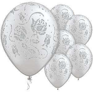 "Silber Rosen 27,5cm 11"" Latex Luftballons Qualatex"