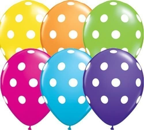 "Big Polka Dots Sortiment 27,5cm 11"" Latex Luftballons Qualatex"