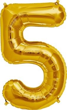 North Star Folienballon Zahl 5 (gold) - 86cm