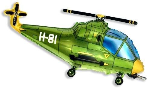 Helicopter grün Folienballon - 96cm
