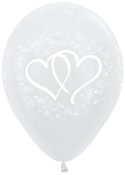 "Entwinted Hearts Pearl White 30cm 12"" Latex Luftballons Sempertex"