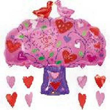 Love Birds Tree Herz Baum Folienballon