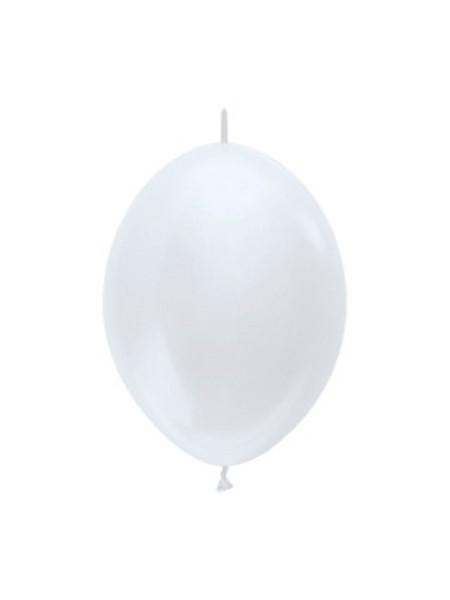 "Link o Loon 405 Satin Pearl White (Weiß) 15cm 6"" Latex Luftballons Sempertex"