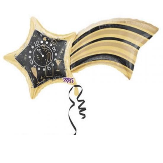 Sternschnuppe mit Uhr Folienballon - 104cm