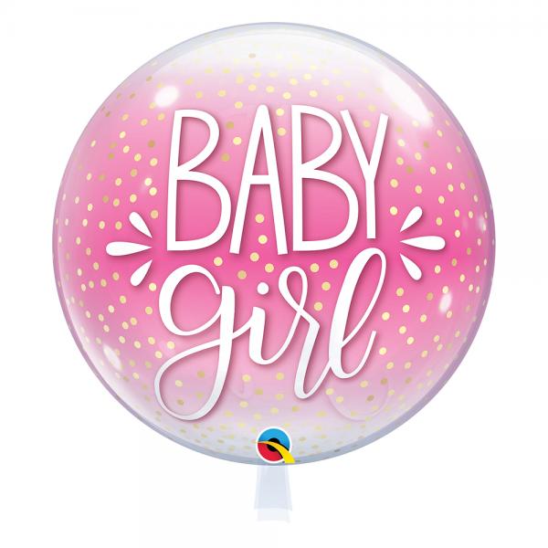 """Qualatex Bubble Baby Girl Pink & Confetti Dots 22"""" 56cm Luftballon"""