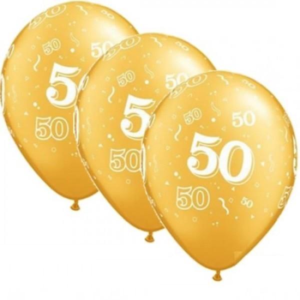 "Zahl 50 Gold 27,5cm 11"" Qualatex Latex Luftballon"