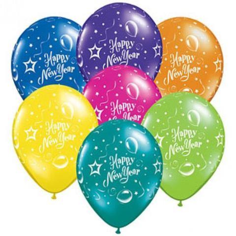 Happy New Year Party Fantasy Qualatex Latexballon - 27,5cm