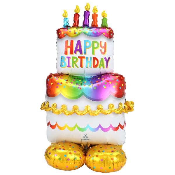 Happy Birthday Cake Folienballon für Luftfüllung - 134cm 53''