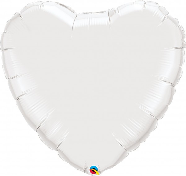 Folienballon Herz White (Weiß) - 90cm