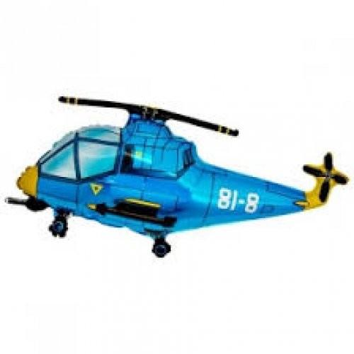 Helicopter blau Folienballon - 96cm