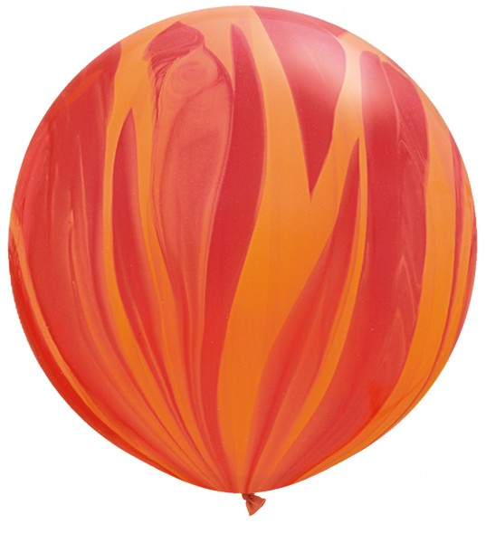 "Qualatex SuperAgate Red Orange Rot Orange Rainbow Regenbogen marmoriert 75 cm 30"" Latex Luftballons"