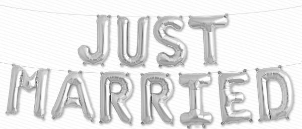 Buchstaben Folienballon Set silber JUST MARRIED - 41cm