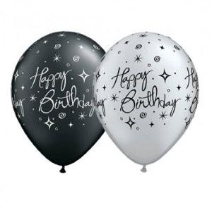 "Happy Birthday Elegant Sparkles & Swirls Sortiment 27,5cm 11"" Latex Luftballons Qualatex"