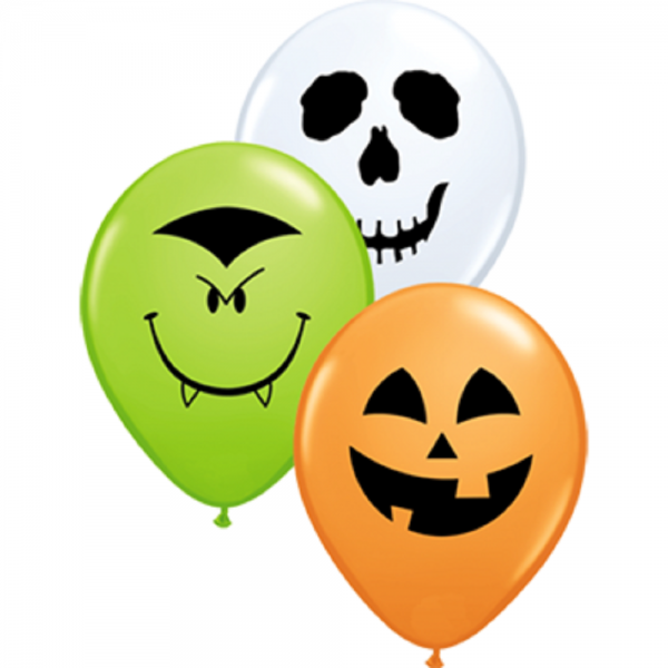 "Qualatex Halloween Face Sortiment Orange, White und Lime Green 12,5cm 5"" Latex Luftballon"