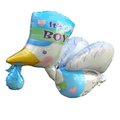 fliegender Klapperstorch blau Folienballon - 81cm