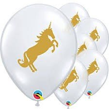 "Einhorn (Unicorn) Gold 27,5cm 11"" Latex Luftballons Qualatex"
