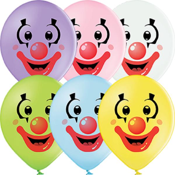 "Clown Faces Pastel Sortiment 30cm 12"" Latex Luftballons Belbal"