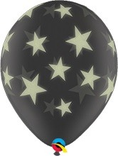 "Glow Stars Sterne Diamond Clear 27,5cm 11"" Latex Luftballons Qualatex"