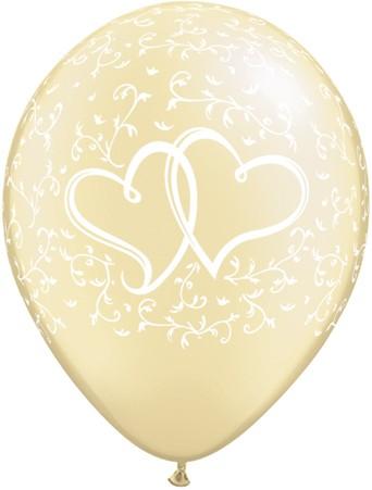 Hochzeitballons Liebe (verschlugene Herzen) pearl white latex round - 27,5cm