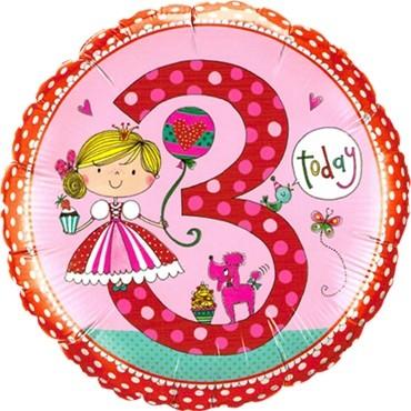 Rachel Ellen - Age 3 Princess Folienballon - 45cm