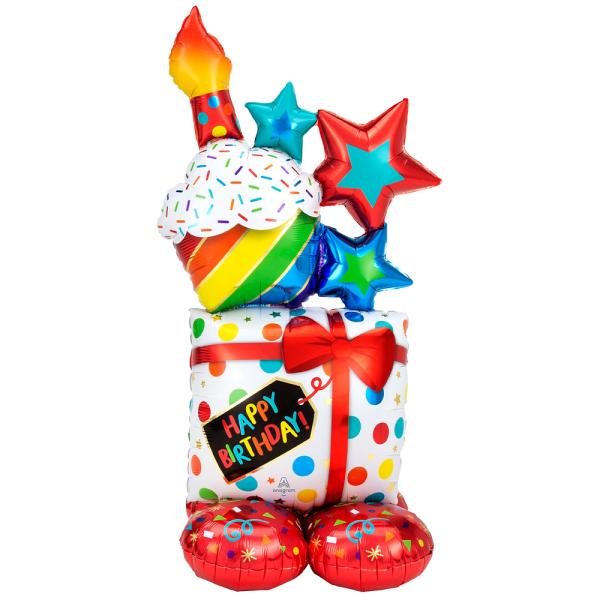 Happy Birthday Geschenk Muffin Folienballon für Luftfüllung - 139cm 55''