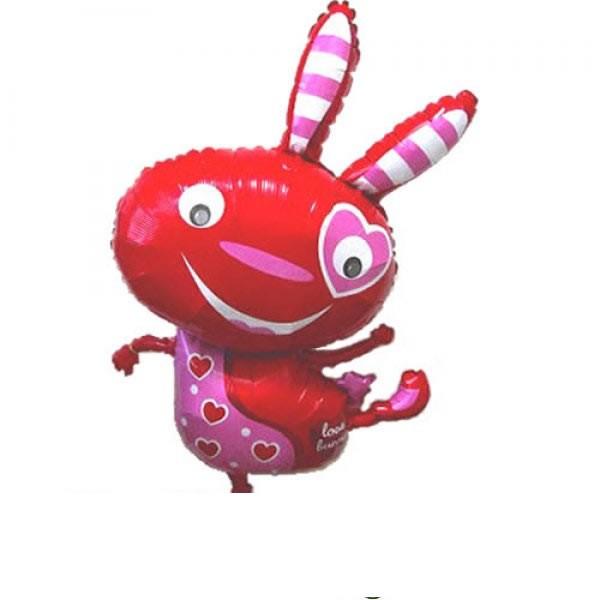 roter Hase Folienballon mit Herz - 101cm
