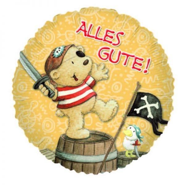 kleiner Teddybär als Pirat Folienballon - 45cm