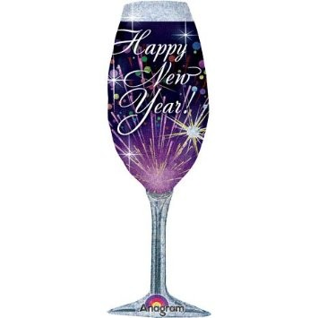 Silvester Folienballon Happy New Year Sektglas - 35x96cm
