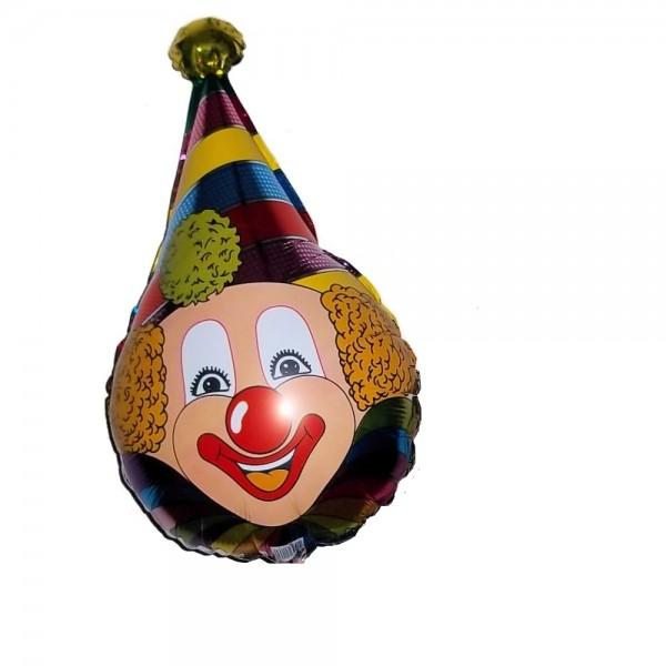 Clown Kopf mit Mütze Folienballon - 76cm