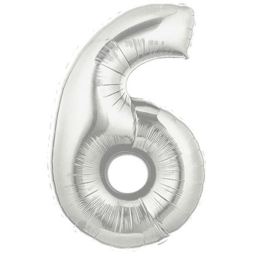 Große Folienballon Zahl 6 (silber)