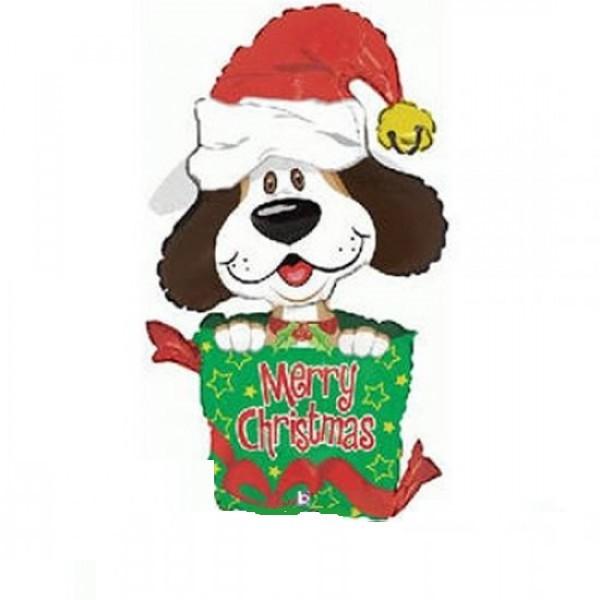 Merry Christmas Hund Folienballon - 96cm