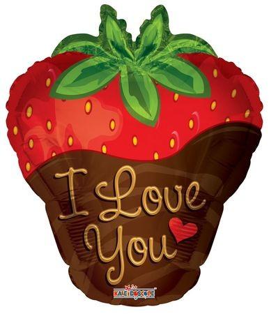 Erdbeere in Schokolade I Love you Folienballon - 45cm