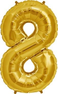 North Star Folienballon Zahl 8 (gold) - 86cm