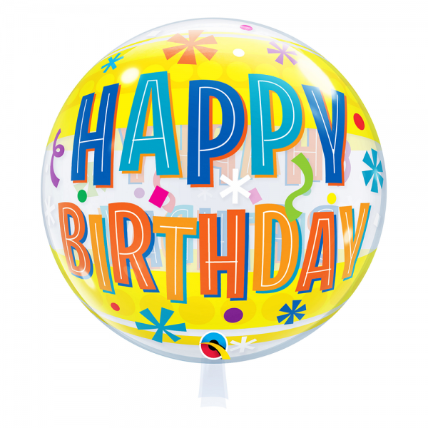 "Qualatex Bubble Happy Birthday Fun & Yellow Bands 22"" 56cm Luftballon"