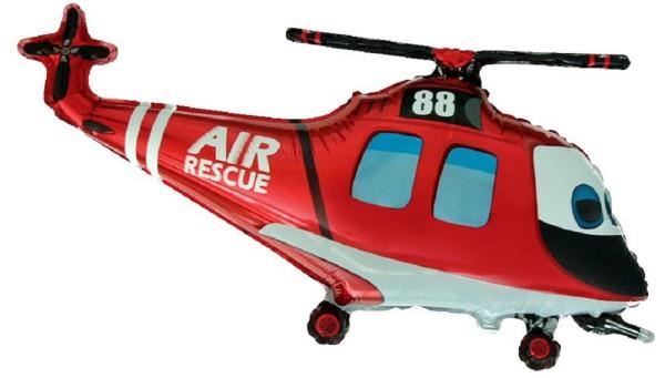 Helikopter Rettungshubschrauber Rot Folienballon - 96 x 57cm