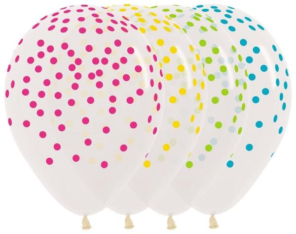 "Confetti Assortment Crystal Clear 30cm 12"" Latex Luftballons Sempertex"