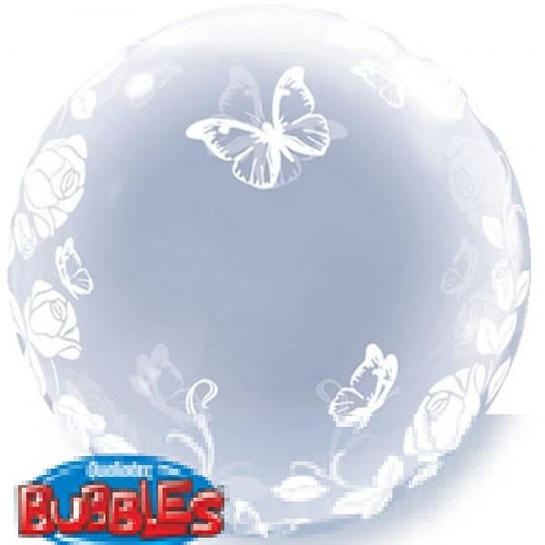 "Qualatex Deco Bubble Elegant Roses and Butterflies 24"" 61cm Lutballon"