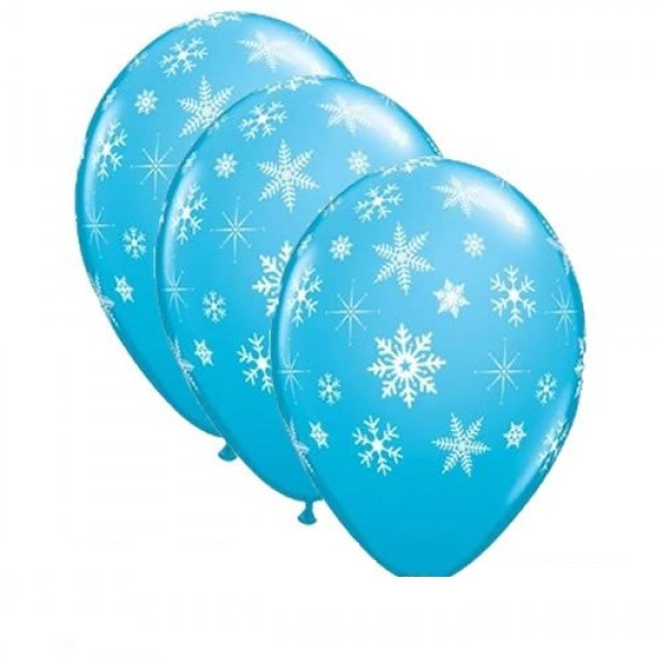 "Snowflakes and Sparkles blau Schneeflocken 27,5cm 11"" Latex Luftballons Qualatex"