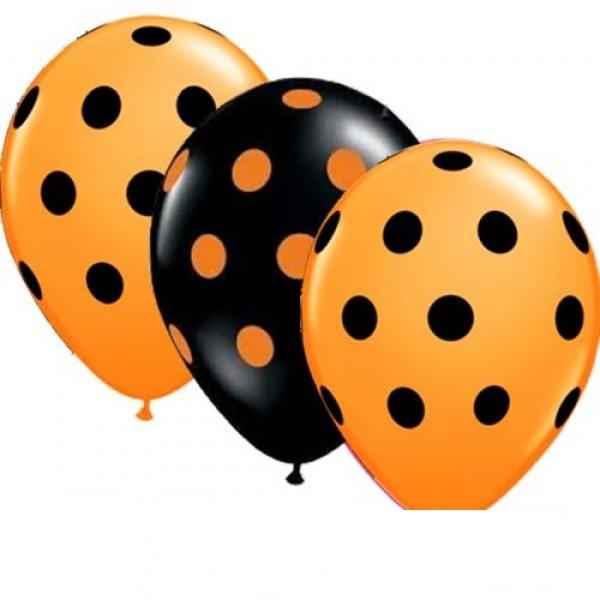 Orange / Schwarze Big Polka Dots Luftballons - 27,5cm
