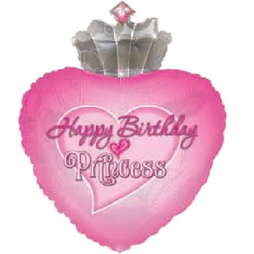 Happy Birthday Princess Herz Folienballon - 76cm
