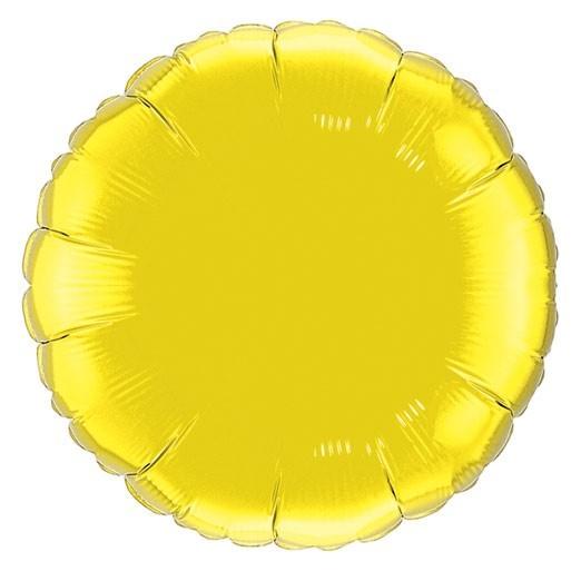 gelber runder Folienballon - 45cm