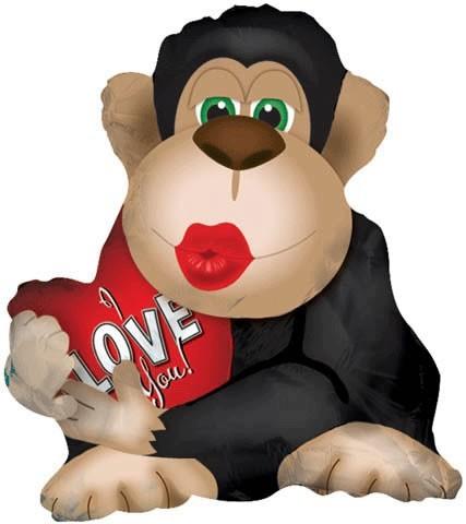 Affe mit Kussmund und Herz Folienballon - 56cm