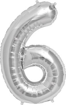 North Star Folienballon Zahl 6 (silber) - 86cm