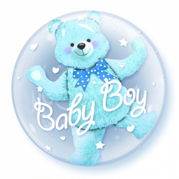 "Qualatex Double Bubble Baby Boy 24"" 61cm Luftballon"