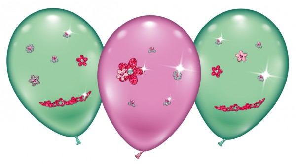 4 Ballons Flower Jewels Latex Luftballon ca- 23cm