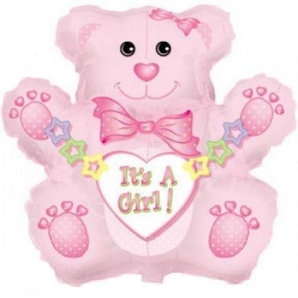 Teddybär Girl rosa Folienballon - 81cm