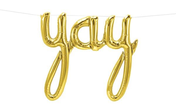 Schriftzug Folienballon Set YAY gold 85 x 76cm