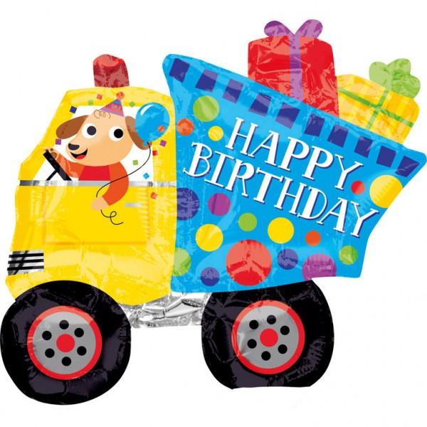 Happy Birthday Bagger mit Hund und Geschenken Folienballon